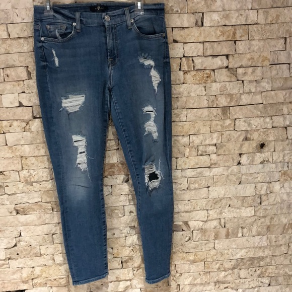 """7 For All Mankind Denim - For all mankind """"7"""" -Blue Ripped jeans"""